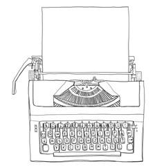 vintage  Blue Typewriter with paper line art illustration
