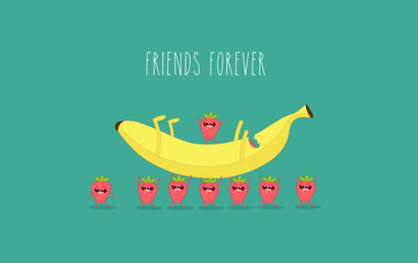 Funny strawberry with banana. Comic character. Use for card, poster, banner, web design and print on t-shirt. Easy to edit. Vector illustration.