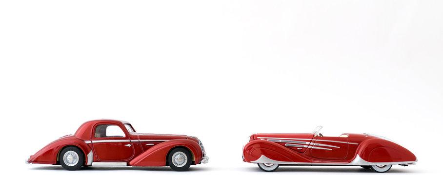 Red Classic Retro Open and Closed Art Deco Cars.
