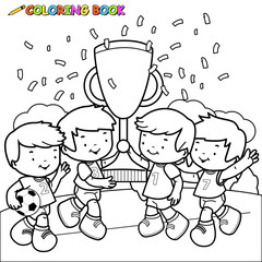 black and white outline image of soccer player  boys cheering and holding the cup at the football field.