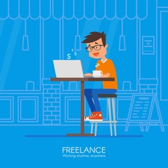 Male freelancer working remotely from his desk. Vector illustration in flat style design. Home office. Online shopping