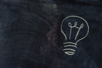 Light bulb chalk drawing on blackboard