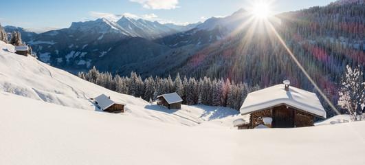 winterliches Alpenpanorama Wall mural