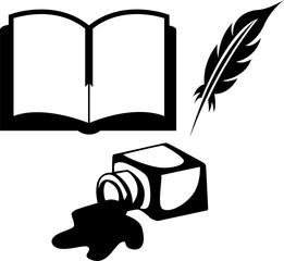 Разлитые чернила, открытая книга и перо