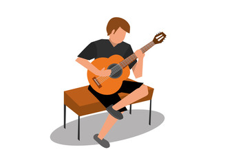 vector of young man playing an acoustic classical guitar