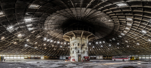 Panoramic view Abandoned bus depot with amazing construction circus