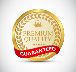 Gold Premium Quality Label Vector Illustration