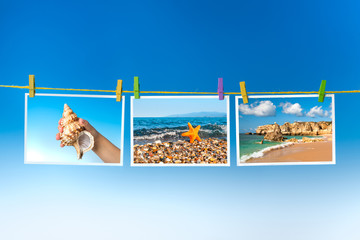 Pictures of sea and sea creatures hanging on colorful pegs