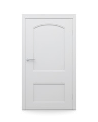 White door on an isolated background. 3d render image.