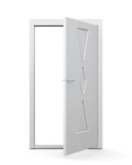 Modern door on a white background. 3d render image. Open door.