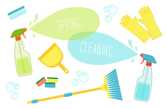 Cute vivid spring cleaning background with hand written text