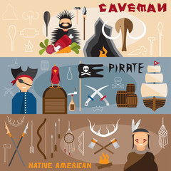 flat design vector banners with caveman,pirate and native americ