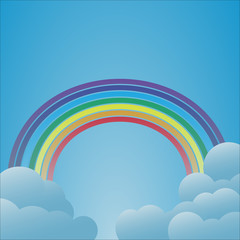 Rainbow with clouds on light blue background