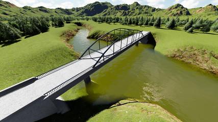 Illustration of rural landscape with bridge