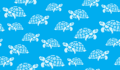Vector seamless background of turtles. Chaotic tortoise