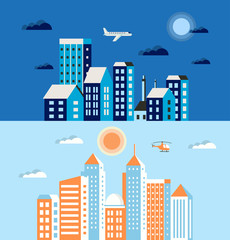 Flat colored building urban style  in blue and blue colors with transport and trees