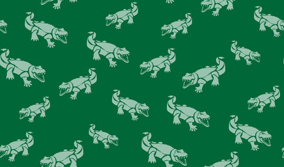 Vector seamless background of crocodiles. Chaotic crocodiles