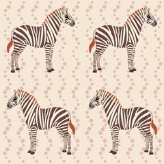 Pattern with zebras and flower stripes