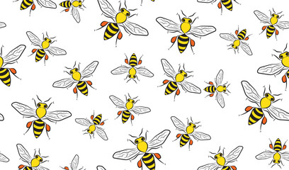 Vector seamless background of bees. Chaotic bees