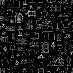 Vector seamless pattern with hand drawn isolated symbols of spring and garden