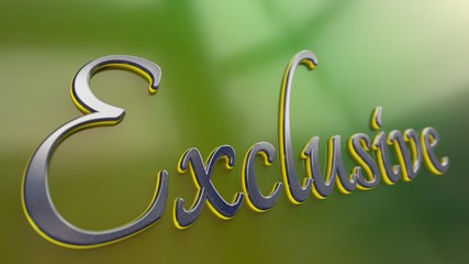 Blue and yellow emblem with word Exclusive written in script font on a glossy green surface. Render.