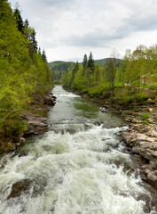 waterfall Probiy  in Yaremche, Carpathians, Ukraine