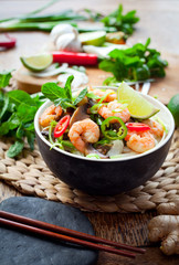 prawn noodles -  spicy asian meal with mushrooms, chili, mint and lime - bún gạo với tôm