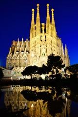 Sagrada Familia at night with reflections, Barcelona, Spain
