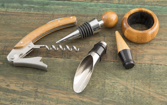wine accessories on wooden background