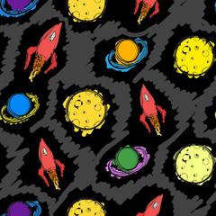 Planet and rocket hand drawn colored seamless pattern
