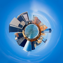 New York City 360 degree panorama. Unique view of city as a tiny round planet floating in space.
