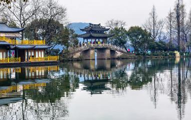 Old Chinese Bridge West Lake Reflection Hangzhou Zhejiang China