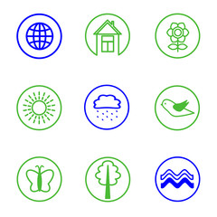 set of nature icons, vector illustration