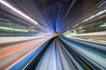 Tokyo, Japan train motion blur.