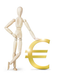 Man leaned against a large golden Euro sign. Abstract image with a wooden puppet
