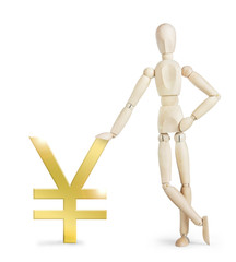Man leaned against a large golden Yen sign. Abstract image with a wooden puppet