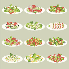 Big vector set. Various salads in plates