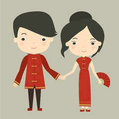 A young Chinese couple in traditional costumes. Vector illustration.