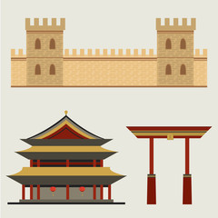 Chinese architecture. Great Wall of China. Vector set
