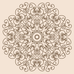 Mandala. Vintage Round Ornament Pattern Like Lace in Retro Color
