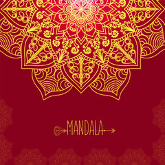 Vector card with glow mandala. Vector background. Ethnic decorat