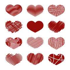 Set of Stylized hand-drawn Scribble Hearts Icons. Childlike, Den