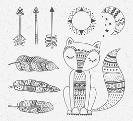 Outline boho style totem fox, feathers, arrows, sun and moon design elements