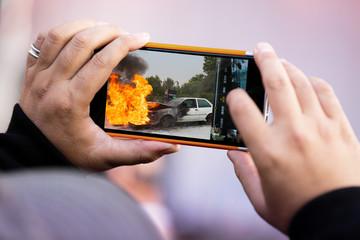 accident incendie témoin témoignage photo smartphone télépho