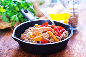 soba with meat and vegetables