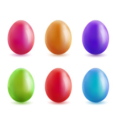 Set of realistic colored eggs.