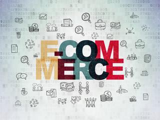 Business concept: E-commerce on Digital Paper background