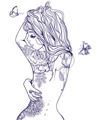 young beautiful woman with tattoo