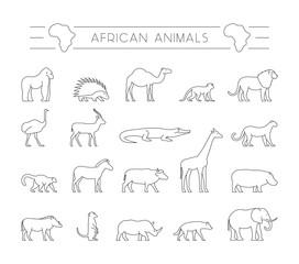 Vector set of outline African animals.