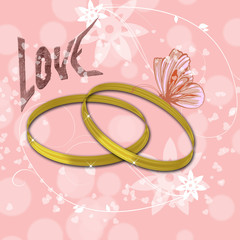 pink background with golden rings and the inscription  love